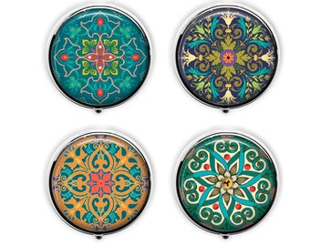 Moroccan design pill box, exotic mandala pill case, kaleidoscope stash box, party favors, travel earring trinket box .