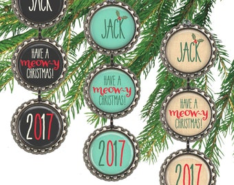 Personalized cat ornament,  pet name, Meowy Christmas, custom cat Christmas gift for cat owner.
