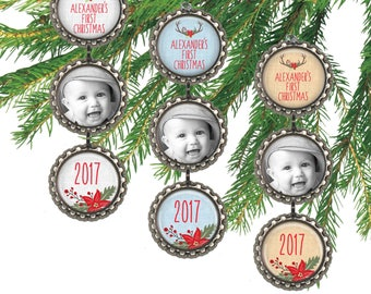 Personalized baby's first Christmas ornament, baby boy antler photo ornament, gift for new parents, grandparent gift.