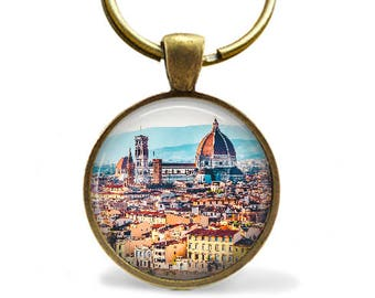 Florence Italy bronze keychain or copper Florence necklace photo pendant Santa Maria del Fiore Cathedral world travel gift for study abroad.
