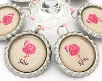 Flamingo party favor pink flamingo wine charms  birthday beach party favors personalized tropical bridal shower favors.
