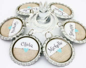 personalized burlap bridal shower favors wedding wine charms heart arrow drink tags anniversary party favors