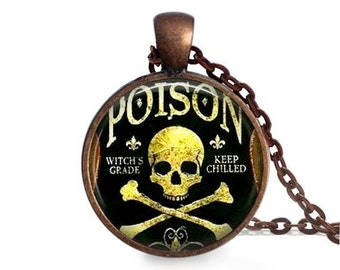 Poison label necklace skull and bones pendant goth charm vintage apothecary jewelry.