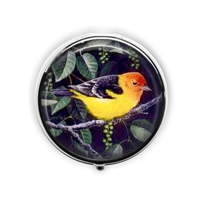 Bird Pill Box Yellow Bird Pill Case Gift For Birder Vintage Etsy