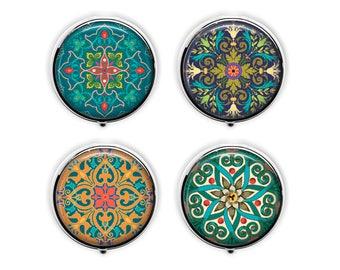Moroccan design pill box, exotic mandala pill case, kaleidoscope stash box,  travel earring trinket box  .