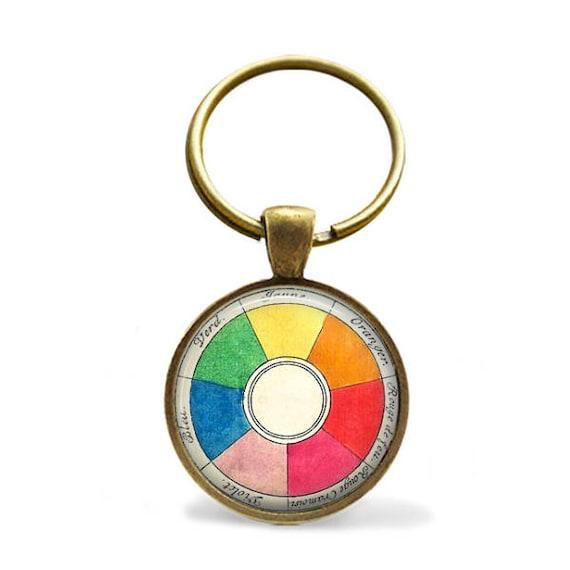 Color Wheel Keychain Vintage Color Wheel Key Ring Art Etsy