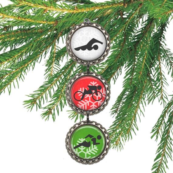 image 0 - Triathlon Ornament Christmas Gift For Triathlete Run Bike Etsy
