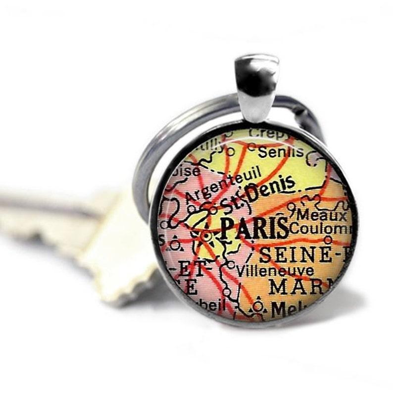 Map Of France With Key.Paris Map Keychain Vintage Paris France Atlas Key Ring Paris Travel Gift France Travel Key Chain