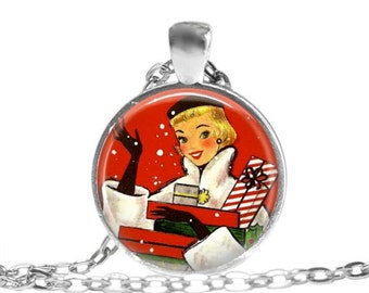 Retro Christmas necklace girlfriend gift for friend vintage Christmas jewelry lady with packages pendant.