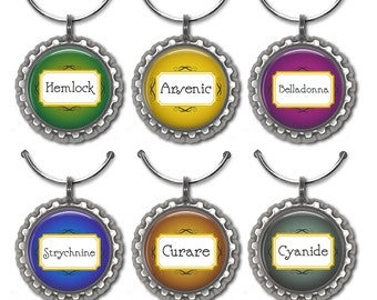 Wine charms humorous party favor vintage poison label drink tags arsenic cyanide belladonna.