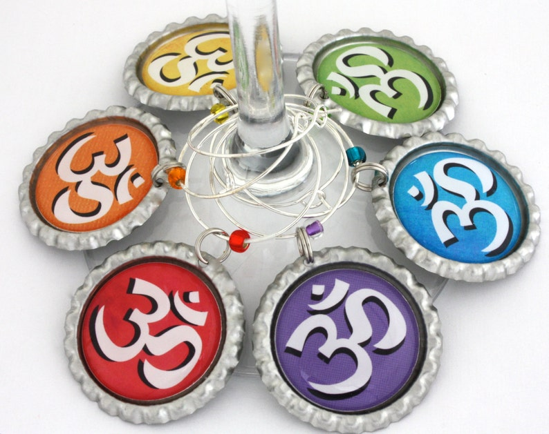 Yoga wine glass charms Ohm symbol spa party favors Meditation gift