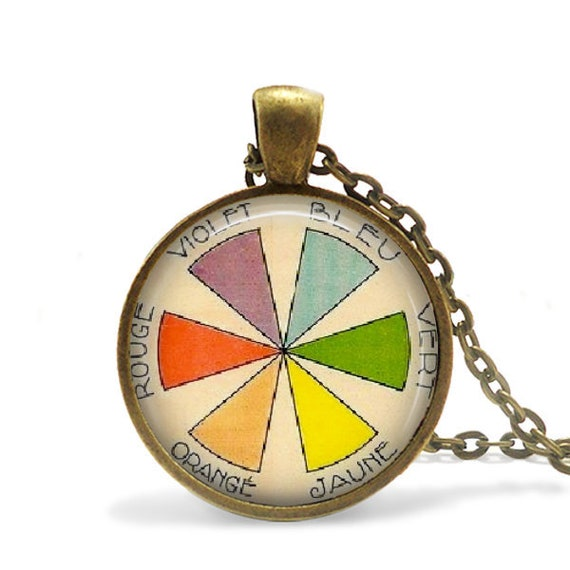 Color Wheel Necklace Artist Gift For Her Vintage French Etsy