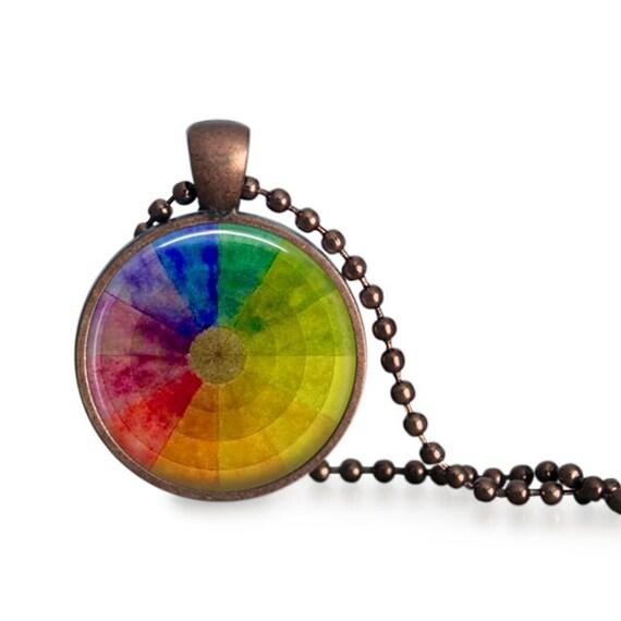Vintage Color Wheel Pendant Necklace Artist Gift For Art Etsy