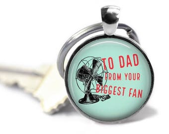 Funny Fathers Day gift biggest fan keychain fun pun key ring gift for daddy.