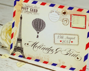 Postcard Wedding Invitation, destination wedding, personalised and handmade, wedding abroad, beach wedding, postcard, vintage