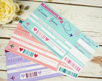 Boarding Pass Wedding Invitation with rsvp, destination wedding, personalised and handmade, wedding abroad, beach wedding