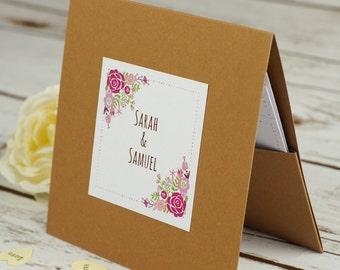 Floral Rustic Pocketfold Wedding Invitations, country wedding, personalised and handmade, rsvp, kraft card, vintage