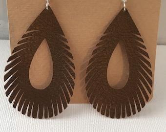 Faux leather fringe earrings
