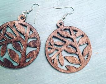 Wood veneer earrings