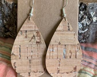 Silver fleck cork earrings