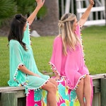 Monogrammed Swimsuit Cover Up, Beach Cover Up, Swimsuit Cover Up, Pom Pom Cover Up, Bridesmaid Gifts, Monogrammed Beach Tunic