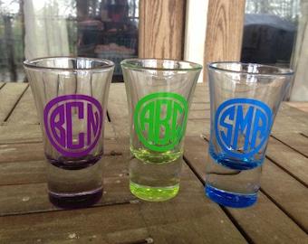monogram shot glass etsy