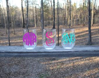 Monogrammed Acrylic Stemless Wine Glass