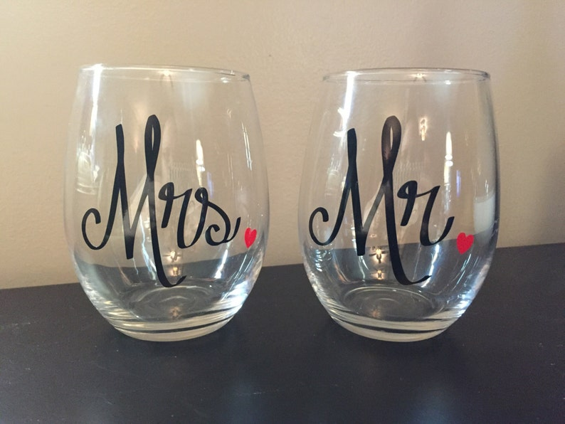 Mr. and Mrs. Wine Glass Set Stemless Wine Wedding Gift image 0
