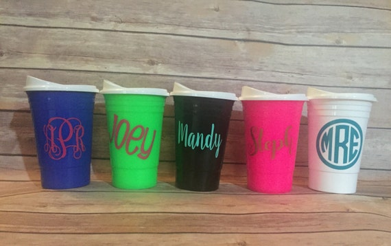 personalized solo cups monogrammed solo cups double walled etsy