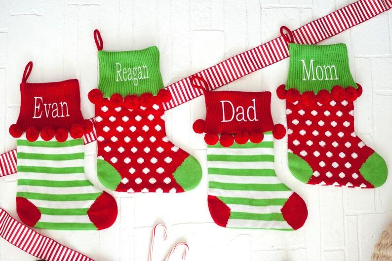 Knit Christmas Stocking Monogram Christmas Stockings image 0