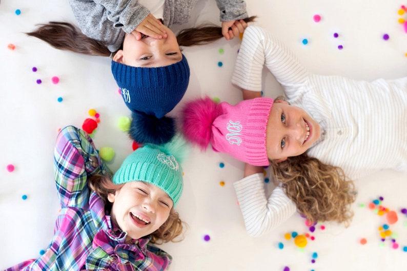 Kid's Personalized Beanie Monogrammed Winter Hat Pom Pom image 0