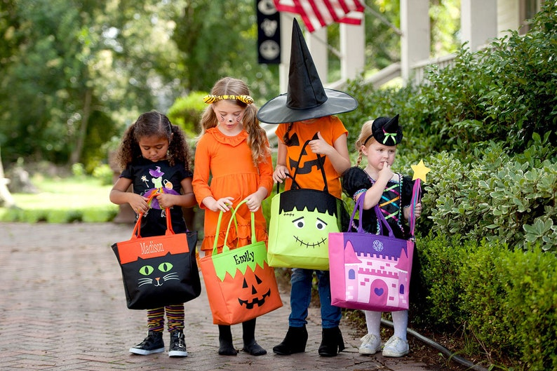 Trick or Treat Bag Halloween Tote with Monogram Personalized image 0