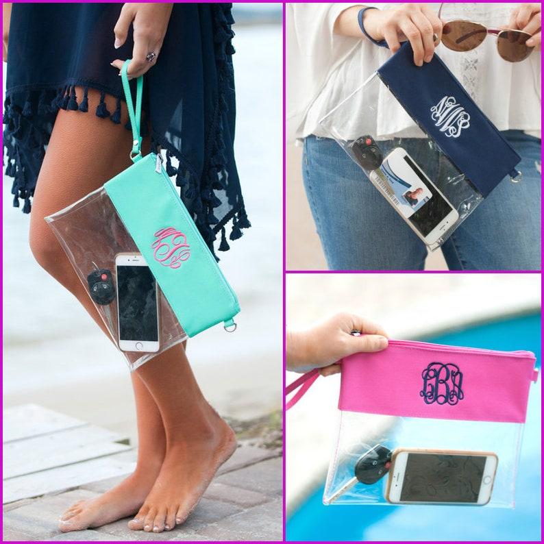 Gameday Zip Pouch Monogram Clear Pouch Clear Wristlet Clear image 0