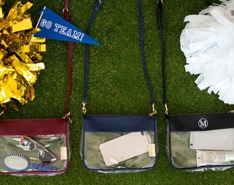 Gameday Zip Pouch, Monogram Clear Pouch, Crossbody Stadium Purse, Clear Purse, Monogram Clear Stadium Bag, Gameday Bag, Stadium Bag