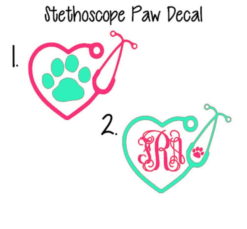 Stethoscope Decal Monogram Stethoscope Decal Vet Tech Decal image 0