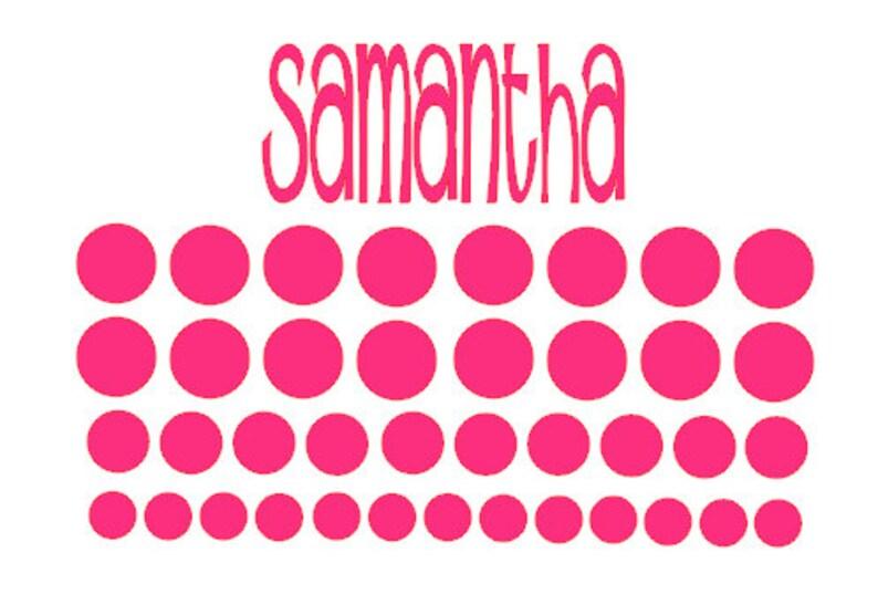 Name Decal Vinyl Name & Polka Dot Set Name Sticker Vinyl image 0