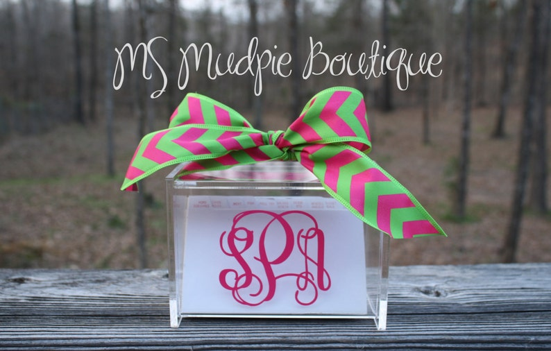 Monogrammed Acrylic Recipe Box with 60 Cards and Dividers image 0