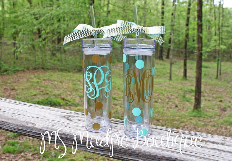 Personalized Tall and Skinny Acrylic Tumbler Monogrammed image 0