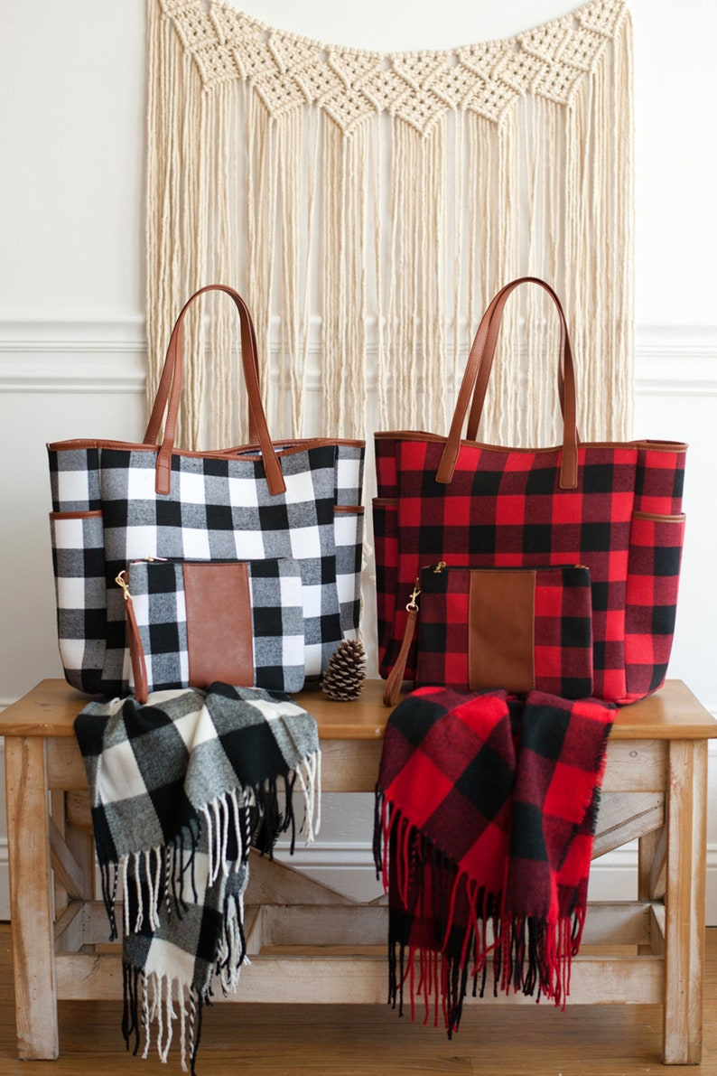 Monogrammed Large Tote Buffalo Check Large Tote Buffalo image 0