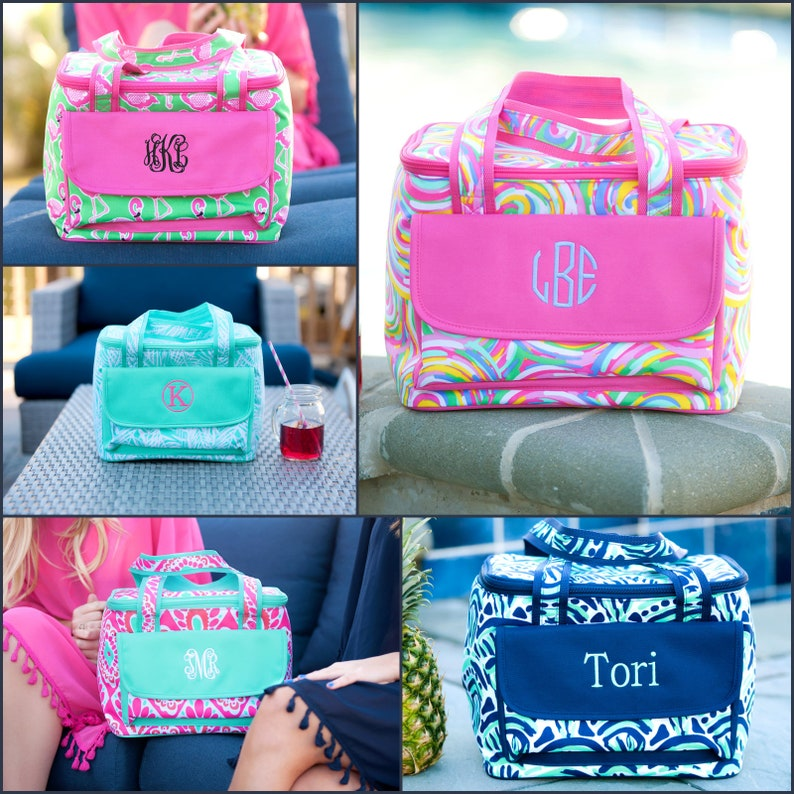 Monogram Cooler Bag Personalized Cooler Monogram Beach image 0