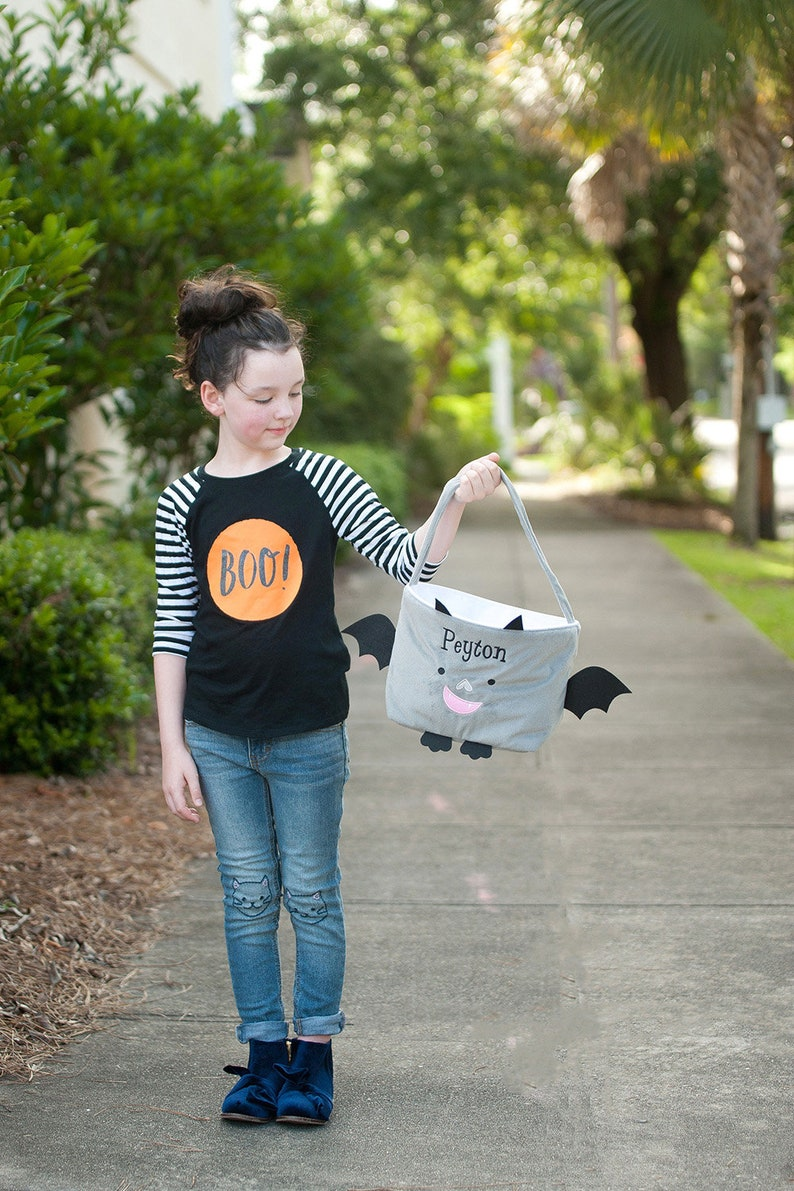 Trick or Treat Bag Halloween Treat Bag Personalized Halloween Bag Kids Halloween Bag Halloween Tote with Monogram Plush Halloween Tote