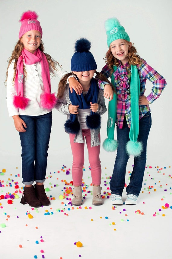 Girls Personalized Beanie and Scarf Set Monogrammed Winter  59c4032ef46