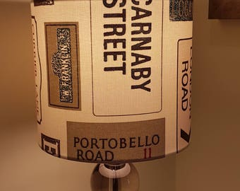 Modern Handmade 20cm Drum Lampshade Fryetts London Streets Signs Roads Carnaby Portobello Road  (Free UK Post)