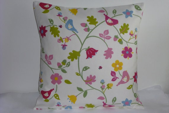 """Clarke and Clarke Chintz Pink Floral Stripe 16/"""" Cushion Cover Shabby Chic"""
