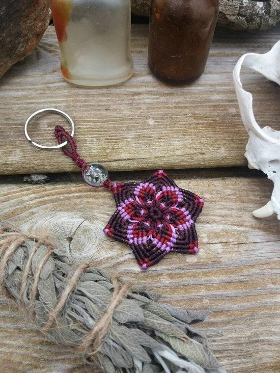 Macrame Mandala keychain that glow in the dark