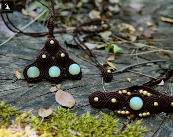 Macrame jewelry set, green jade jewelry set, bohemian jewelry set, ooak jewelry set, ready to ship, forest inspired jewelry set