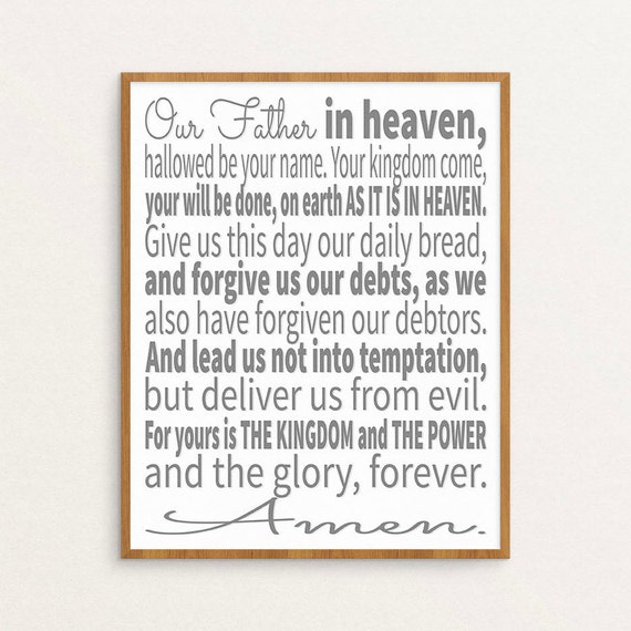 graphic about Printable Lords Prayer named The Lords Prayer, The Lords Prayer, Lords Prayer Artwork, Lords Prayer Print, Printable Artwork, Scripture Artwork, Scripture Typographic Print, ESV