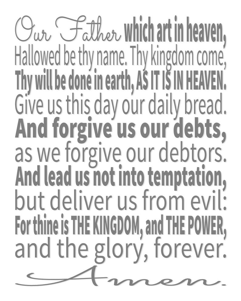 image relating to The Lord's Prayer Kjv Printable titled The Lords Prayer, The Lords Prayer, Lords Prayer Artwork, Lords Prayer Print, Printable Artwork, Scripture Artwork, Scripture Typographic Print, KJV