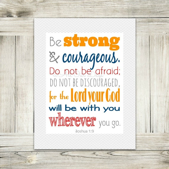 joshua 1 9 be strong and courageous bible verse etsy