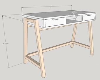 Plans Wood Two Level Desk Woodworking Plans Pdf Etsy